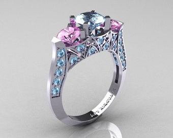 Modern 10K White Gold Three Stone Aquamarine Light Pink Sapphire Solitaire Engagement Ring, Wedding Ring R250-10KWGLPSAQ