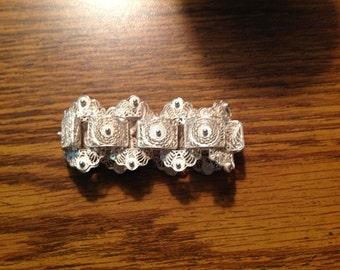 Vintage sterling Silverr Filagree Link Bracelet