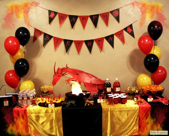 Dragon birthday party complete party set print at by - Dragon decorations for a home ...