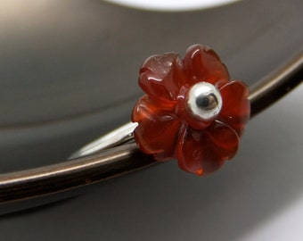 Barely There Cherry Blossom Flower Sterling Silver Ring in Carnelian - US0 to US12.0