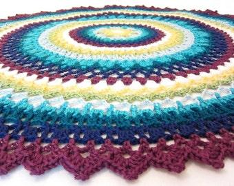 lacy baby blanket - round baby blanket - crochet baby blanket - handmade by RockinLola