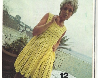 1970s Vintage Crochet Pattern - Babydoll Dress