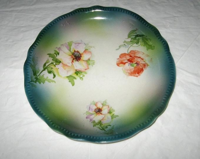 Steingut-Fabrik und Kunsttöpferei F.A. Mehlem Porcelain Plate, Roses and Beaded Rim