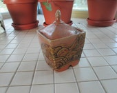 Vintage Pottery Ceramic Jar Container With Lid - pinkpussykatvintage