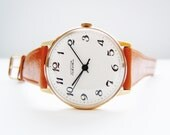 Vintage mechanical gold plated mens watch Raketa. NEW from old stock.
