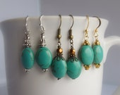Turquoise Earrings in Bronze, Silver and Gold Wire Wrapped Stone Earrings
