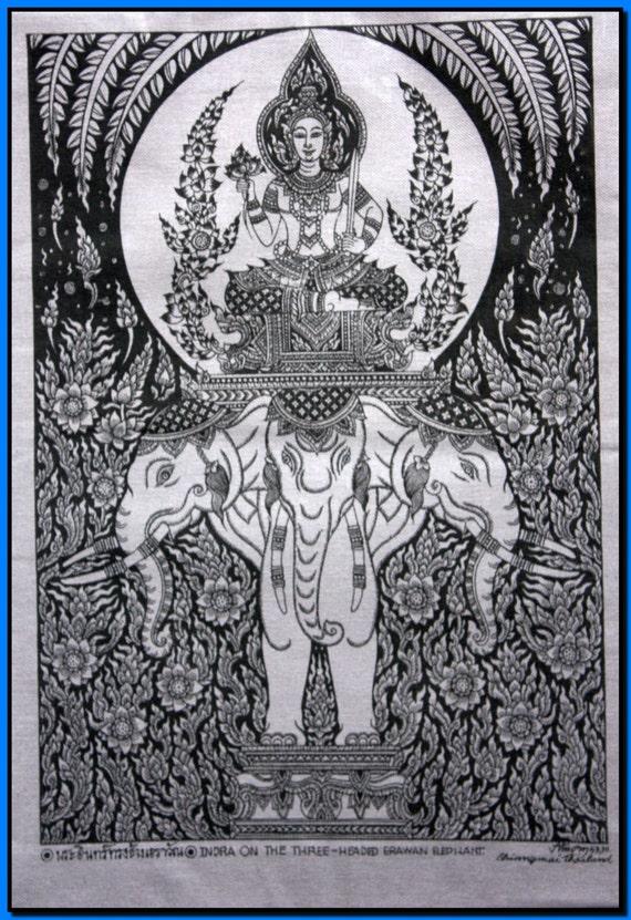thai traditional art of indra on the three headed erawan. Black Bedroom Furniture Sets. Home Design Ideas