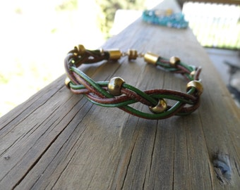 Men's 8' braided dark green and brown leather with gold beads and magnetic closure