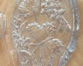 Vintage Cut glass Dressing Table Set light Blue 2 piece set SALE ITEM