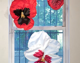 Pansies, Red Trio, 12 times life size