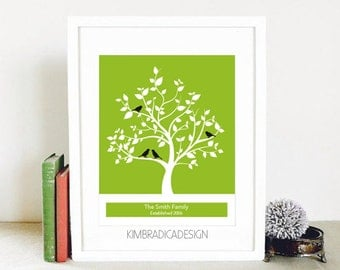 Personalized Family Tree Wall Art, Digital Print