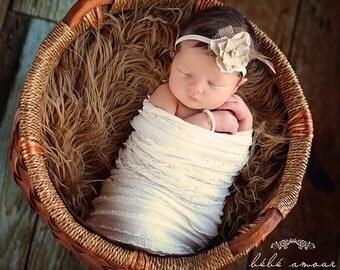Vintage Newborn Headband Photography Prop Baby Flower Headband Baby Girl Head Band Pearl Halo Flower Girl Headband Birthday Headband