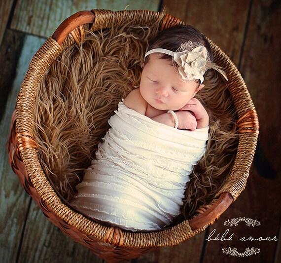 Studio Lighting Newborn Photography: Items Similar To Vintage Newborn Headband Photography Prop
