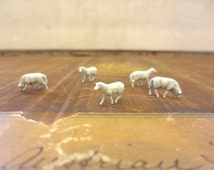 Just Grazin'...Miniature Sheep Handpainted Tiny Sheep Small Animals Five piece Tiny Farm Animal Tiny Sheep Terrarium Decor