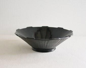 Vintage  Black Amethyst Glass Serving Bowl