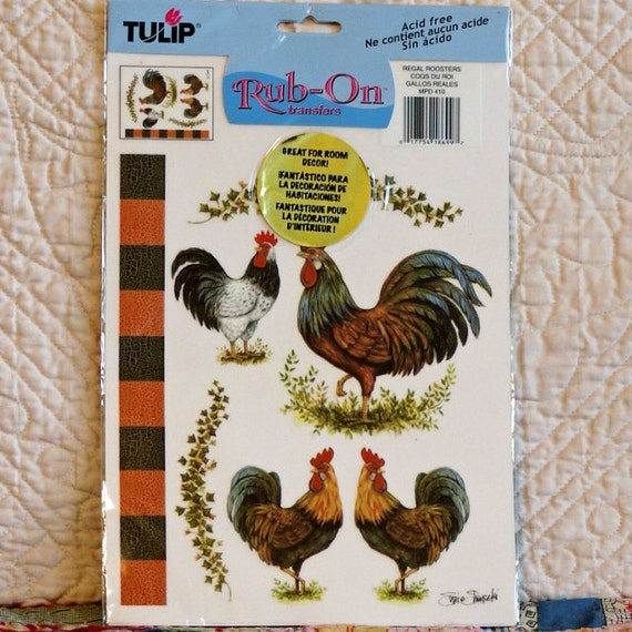 TRANSFER RUB-ON 2002 Tulip Mpd410 Regal Roosters 2-oz