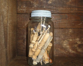 Laundry Room Decoration, Vintage canning jar with clothespins