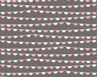 SALE 1/2 Yard Riley Blake Remember Banner in Gray