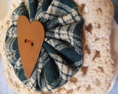 Brooch/pin, tea dyed, green plaid, cotton fabric, crocheted doily with rust colored heart shaped button, rustic, country.