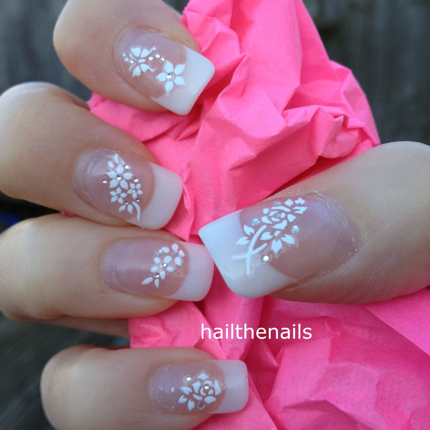 Nail art design with stickers little blue bird with pink floral view images white nail art stickers prinsesfo Choice Image