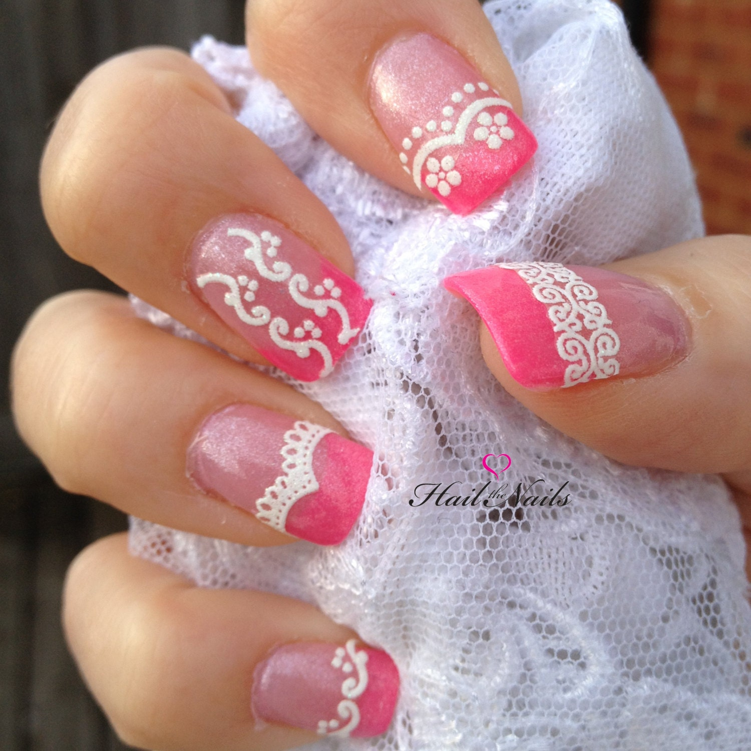 Nail Art Stickers: Lace Glitter White Nail Art Stickers Nail Decals By