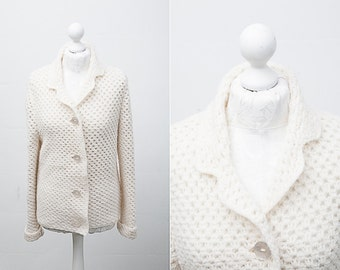 White Retro Cardigan / Ivory Buttoned Up Sweater / Vintage Sweater / Loose Fit Cardi / Women Size 10 / Knitted Cardigan / Grandma Sweater
