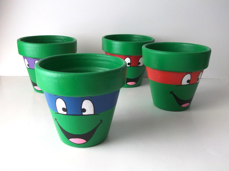 items similar to tmnt ninja turtles painted flower pot set. Black Bedroom Furniture Sets. Home Design Ideas