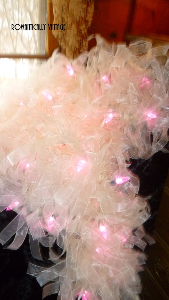 Shabby pink light garland boutique romantic frilly altered for Shabby chic garland lights