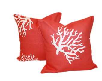 Set of 2 Pillows 18x18 Coral Decorative Pillow Covers 18 x 18 Invisible Zipper Closure