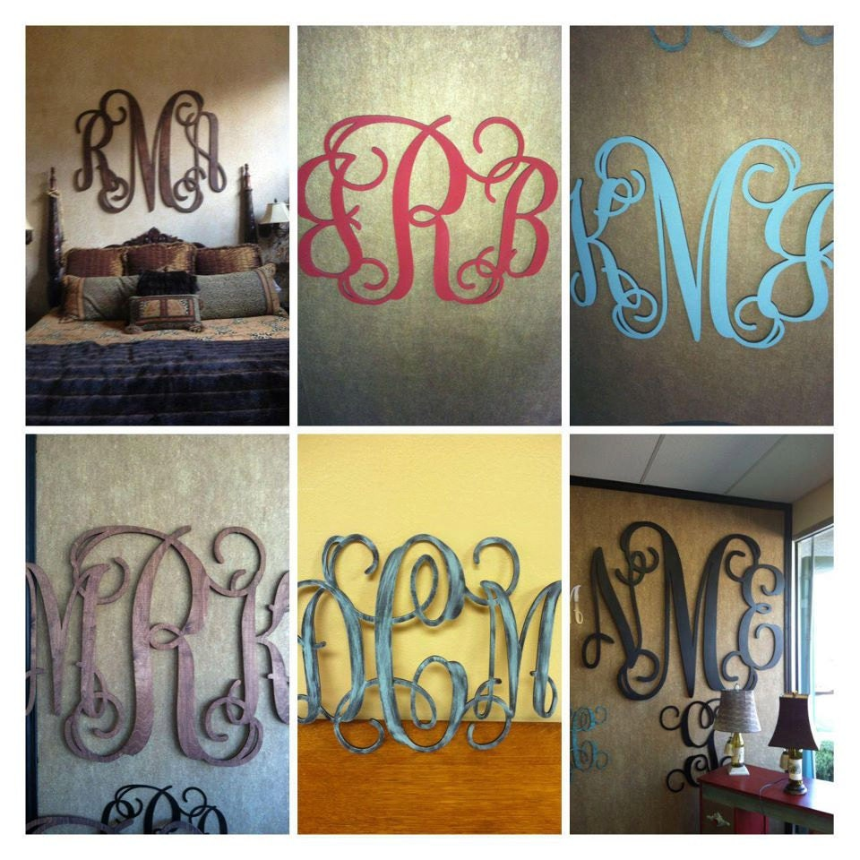 Wood Monogram Wall Decor 16x20 By Monomadness On Etsy