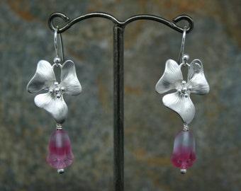Flower earrings with frosted pink glass tulips, wedding earrings, hibiscus earrings, valentine earrings, pink tulips