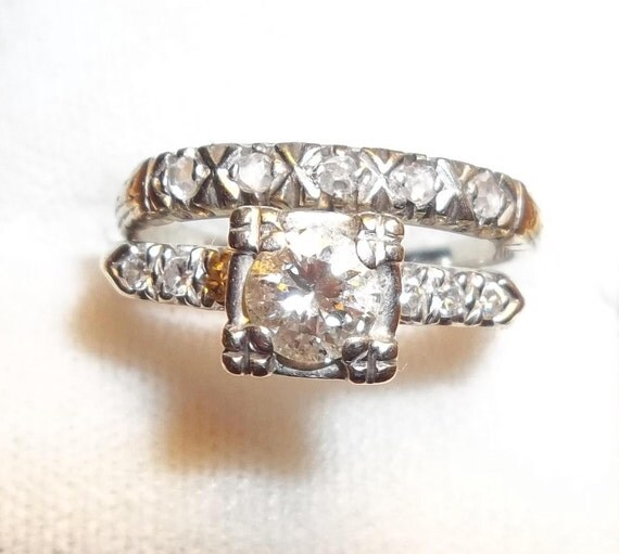 Vintage Wedding Ring Sets: Vintage Wedding & Engagement Ring Set. By VeniVidiVintagery