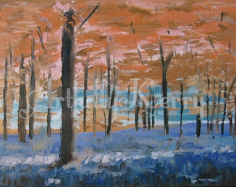 """Autumn Woods 16""""x20"""": Original Oil Painting on Stretched Canvas"""