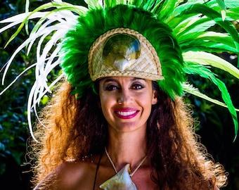 Long coque feather Tahitian headdress