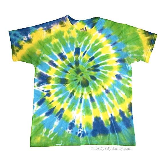 CLEARANCE: Child XL Blue Green Spiral Tie Dye Shirt