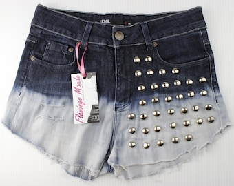 Studded Ombre Shorts High-Waisted Distressed Cut-Offs Size 28