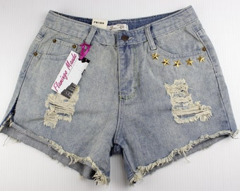 Stars Studded Shorts High-Waisted Distressed Cut-Offs Size 27