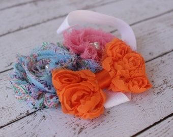 Summer Sorbet - Blue Paisley & Pink Shabby Flower adorn with an Orange Shabby Flower Bow