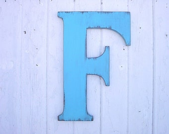 """Wooden Letters F-18""""-Blue-Wedding Guest Book-Distressed-Wall decor"""