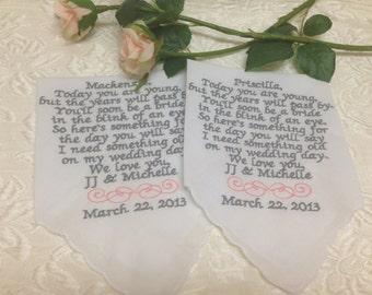 Set of 2 flower girl handkerchiefs
