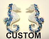 MOOi Swarovski crystal seahorse statement earring's  (CUSTOM)