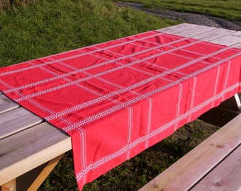 Vintage Danish Red and White Table Cloth / Danish Modern Decor / Mid Century Decor/ Table Ware/ Mid Century Modern/ Tablecloth / Home Decor