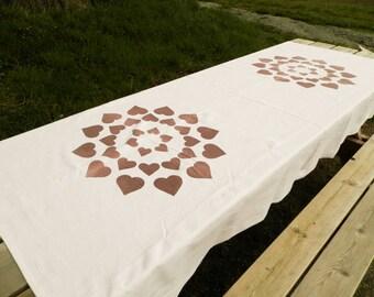 Large Vintage Danish Rough  Cotton Tablecloth Printed Tablecloth / Nordic Decor / Scandinavian Fabric / Mid Century Modern / Danish Design