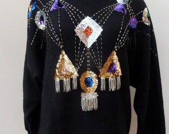 Vintage Disco Sequin Sweater M/L