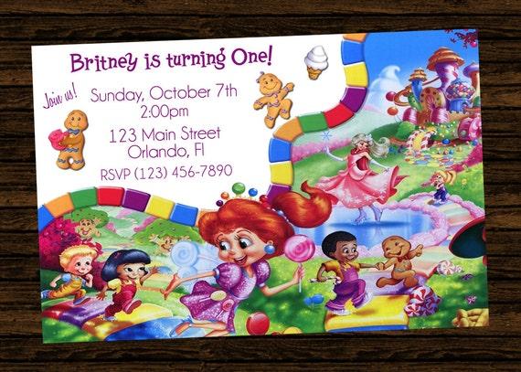 custom candyland birthday party invitations diy printable
