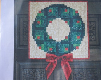 Custom Offering: Log Cabin Quilted Wreath - For Your Door or Use as a Wallhanging
