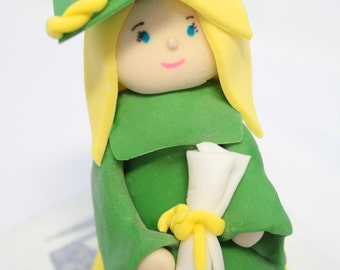 Fondant Cake Topper Graduation Girl 1 qty Edible Cake Topper for Graduate - Specify Colors for Grad Cake
