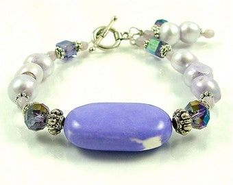 MAJOR MARKDOWN - Precious Purple Howlite, Pearl and Crystal Beaded Bracelet with Dangles
