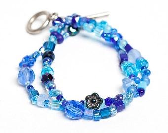 Blue Bead Soup Bracelet Mixed Beads