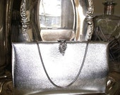 RESERVED - Vintage Purse Silver Hard Case Evening Bag with Crystal Clasp